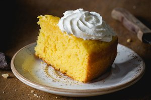 Pumpkin cake with whipped cream