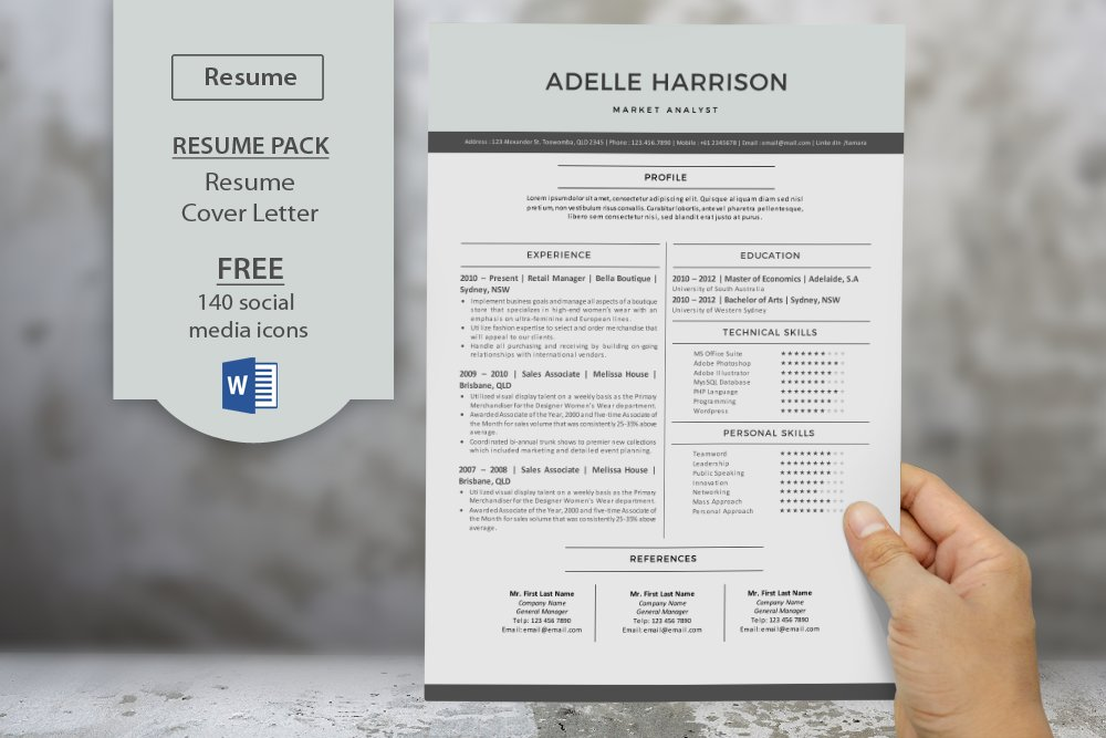 modern resume templates for word resume templates creative market - Word Resume Templates