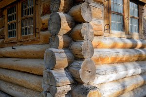 Corner of Russian old wooden house