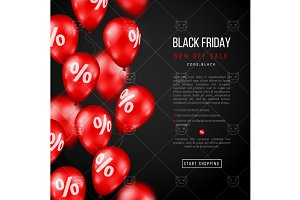 Black friday with red balloons
