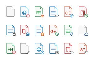 Documents filled outline 144 icons