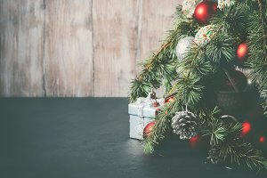 Christmas tree branches with decorations
