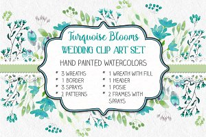 Watercolor set: turquoise flowers