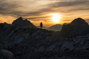 Male hiker at sunset