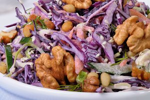 salad of shredded red cabbage