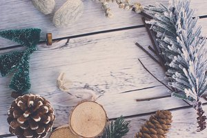 Christmas Styled Flat Lay Background