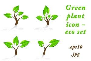 Green plant icon - eco set