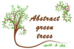 Abstract green trees set