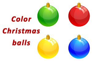 Color Christmas balls set