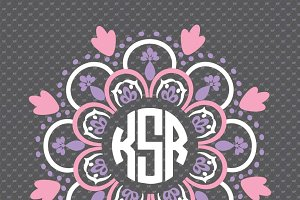 3 colors mandala monogram frame