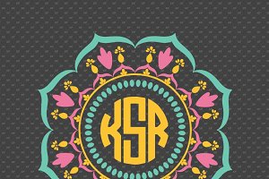 3 colors mandala monogram frame #MM2