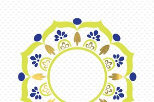 3 colors mandala monogram frame #MM3