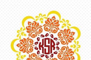 3 colors mandala monogram frame #MM6