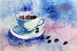 Watercolor cup of coffee
