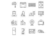 Household appliances icons set