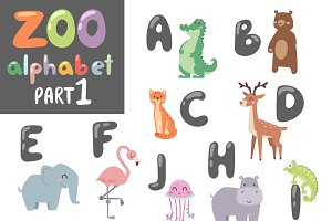 Animals alphabet symbols vector set