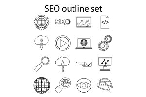 SEO icons set in outline style