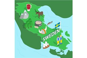 Sweden map, isometric 3d style