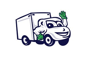 Delivery Van Waving Cartoon