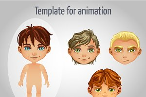 Tamplate of boys and girls character
