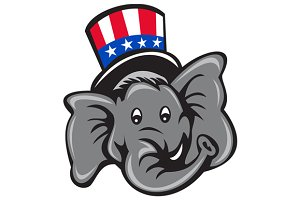 Republican Elephant Mascot Head