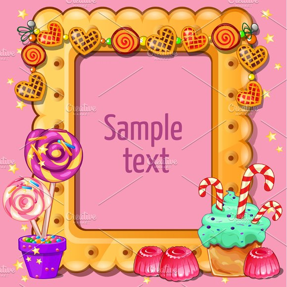 Greeting card with sweets around