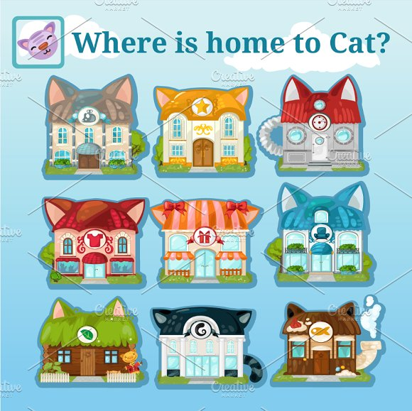 Nine icons of various cat houses