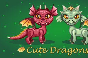Two cute cartoon toothy dragon