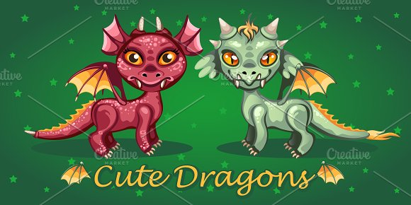 Two cute cartoon toothy dragon in Illustrations