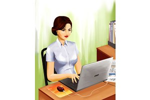 Woman at work place with laptop