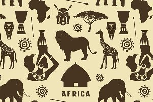 Africa icons set pattern
