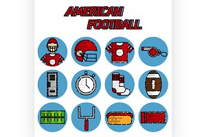 American football flat icon set