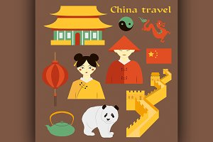 Travel to China. Set of icons