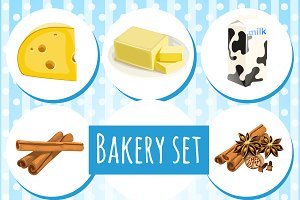 Set of bakery and health food