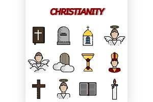 Christianity flat icon set