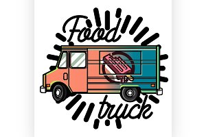 Color vintage Food truck emblem