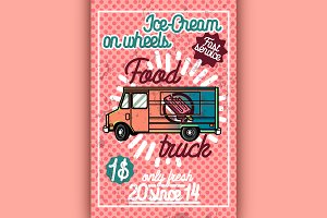 Color vintage Food truck poster