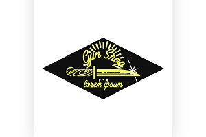 Color vintage guns shop emblem