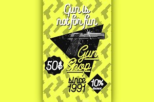Color vintage guns shop poster