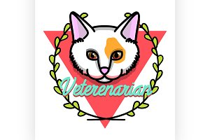 Color vintage veterinarian emblem