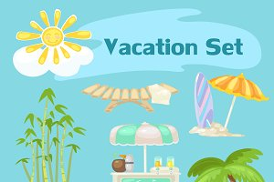 Sunny vocaton beach vector set