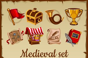 Icon set of medieval object
