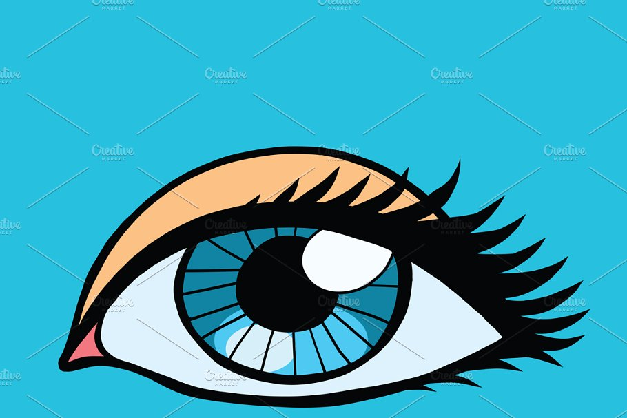 Blue female eyes girl or woman in Illustrations