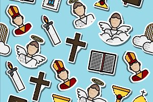 Colored Christianity icons pattern