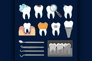 Dental tooth icons