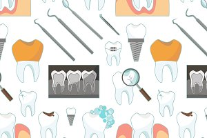 Dental tooth icons pattern