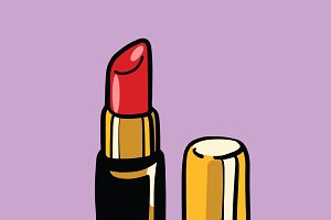 Red lipstick, cosmetics and beauty