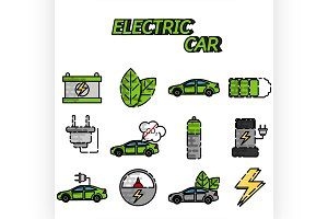 Electric car flat icon set