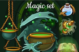 Dragon, potions and witchcraft tools