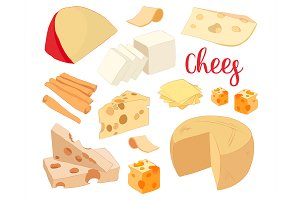 Hand drawn set of chees